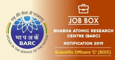 Bhabha Atomic Research Centre (BARC) Recruitment Notification 2019