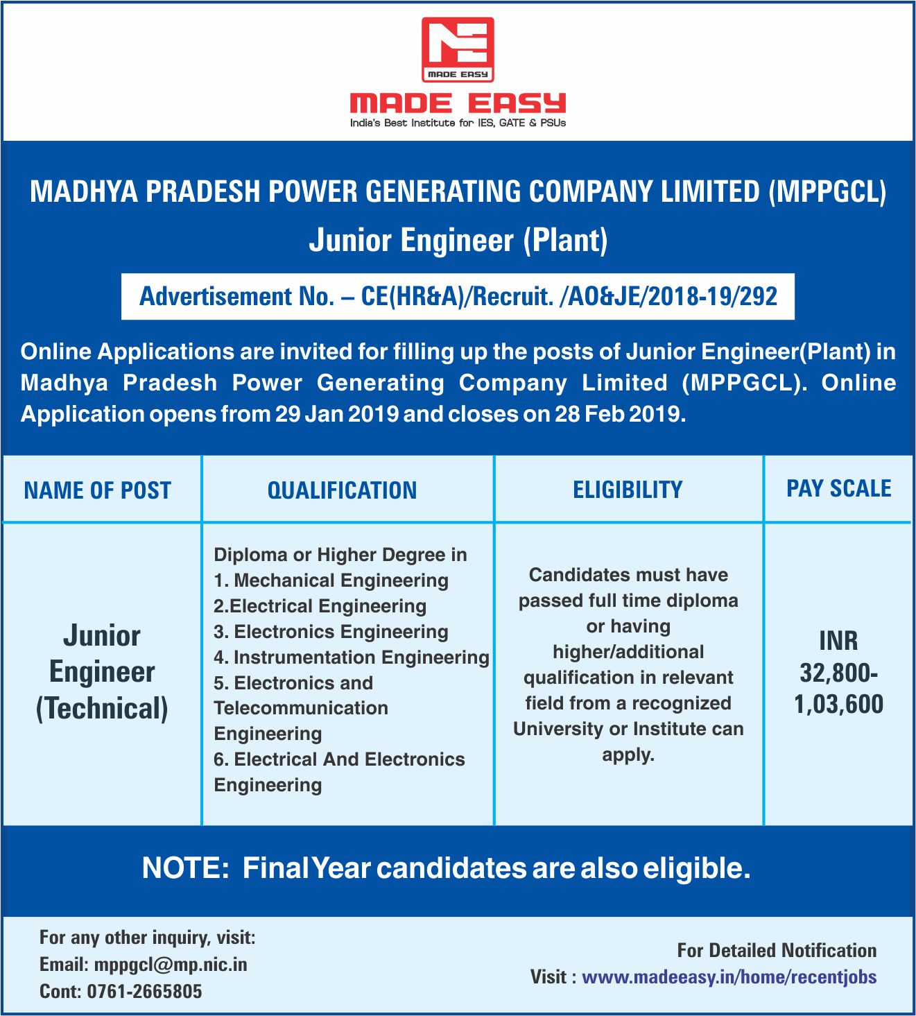 MPPGCL Recruitment 2019: Post of Junior Engineer (Technical