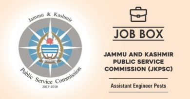 JKPSC Recruitment for the Posts of Assistant Engineer