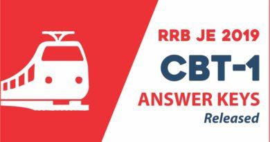 RRB JE 2019 CBT 1 Answer Key