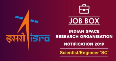 ISRO Job Notification 2019 for Scientist engineer
