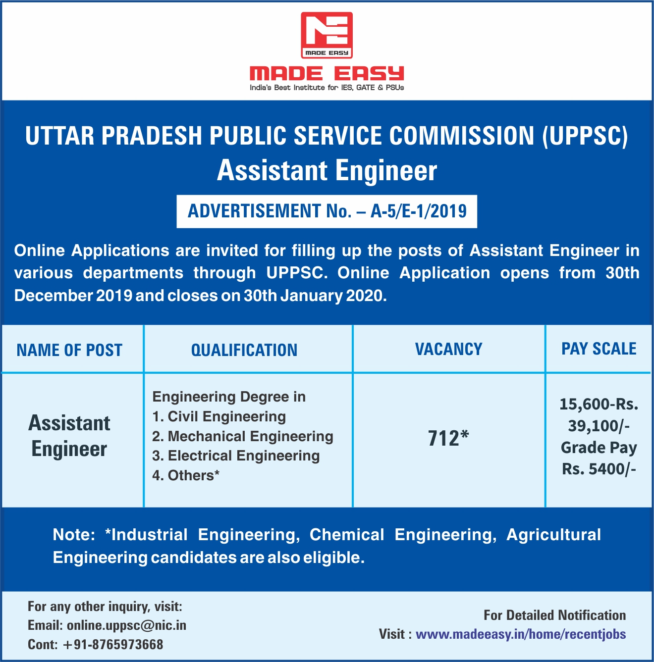 Uppsc Ae Recruitment 2020 For 712 Posts Of Assistant Engineer