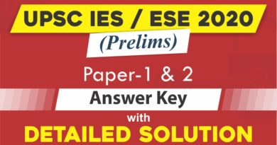 UPSC IES/ ESE 2020 Prelims Exam Answer Key and Detailed Solutions