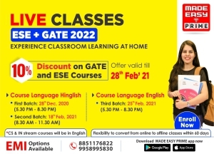 Live Classes for ESE and GATE 2022